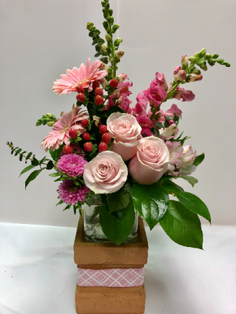 Rose Pedestal Two-Piece Cube Arrangement