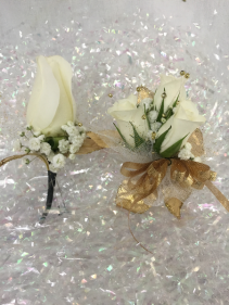 Rose Prom Set Wrist corsage and boutonniere