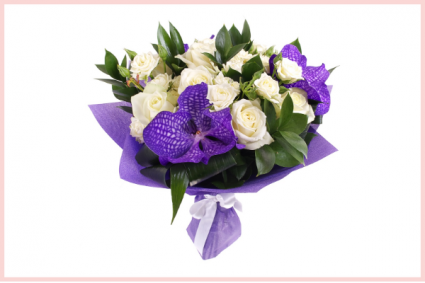 Rose & Purple Vanda Bouquet European Style Hand Tied Bouquet