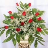 Red Rose Basket Spray Sympathy Basket