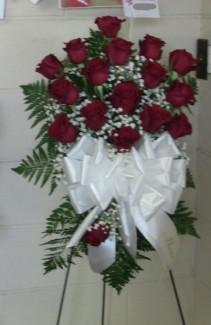 Rose Standing Spray Fresh Red Roses on Easel