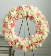 ROSE STANDING WREATH Frieds family can send this directly to the funeral home