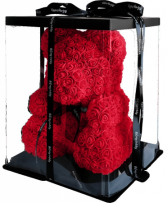 ROSE TEDDY BEAR IN DISPLAY BOX 14 INCH