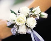 Creamy White Roses Wrist Corsage