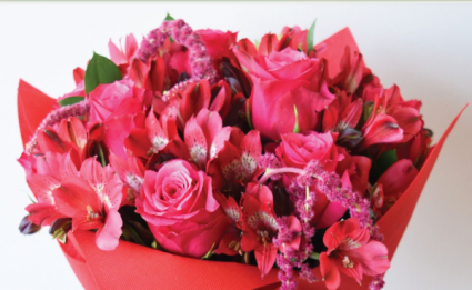 Roses and Alstro - Asst. Pink Hues Wrapped Bouquet