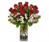 Roses and Alstroemerias Vased Arrangement