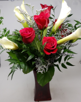 Roses and Calla Lillies