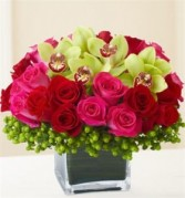 Roses and Cymbidium Orchids in a Keepsake Cube