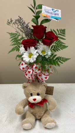Roses and Daisies with Bear