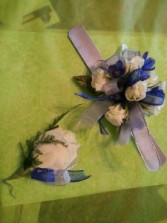Roses and delphinium Snap Band  Wrist Corsage