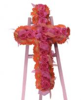 Roses and Gerbera Cross Cross Funeral