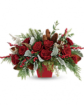 Roses And Holly Centerpiece
