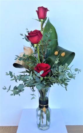 Roses and Jewelry Bud Vase Arrangement