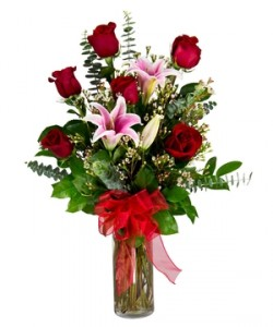 Roses And Lilies Half Dozen Red Roses and Pink Lilys