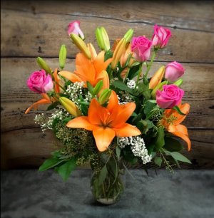Roses and Lilies Bouquet Just for Mom in Pelican Rapids, MN | Brown Eyed Susans Floral