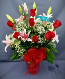 ROSES AND LILIES FOR MOM FRESH ARRANGEMENT