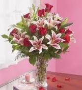 R 9-Roses and lilies in a tall vase Also available in other colors