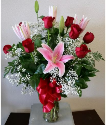 Roses and Lilies Red Rose Arrangement