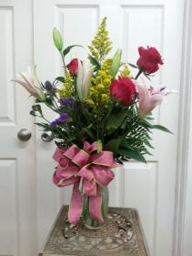 Roses and Lilies Vase arrangement