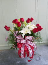 Roses and Lilies Vase Arrangement