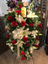Roses and Lilly's elegance with lighted candle  Easel spray for loved one ❤️
