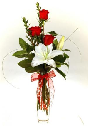 Roses and Lily Budvase  in Lebanon, NH | LEBANON GARDEN OF EDEN FLORAL SHOP