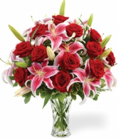 Roses And Lily Elegance Vase Arrangment
