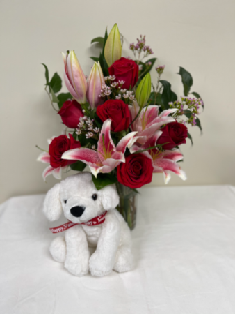 Roses and Lily's with bear