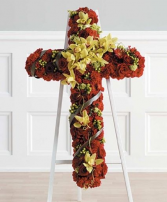 Roses and Orchids Cross Cross Funeral