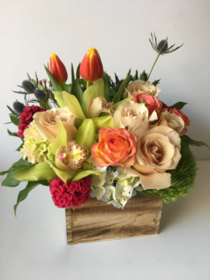 Roses and Orchids in a Box Designer's Seasonal Mix in Palo Alto, CA | Village Flower Shoppe