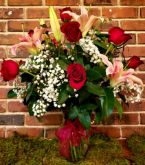 Roses and Oriental Lilies Clear Glass Vase