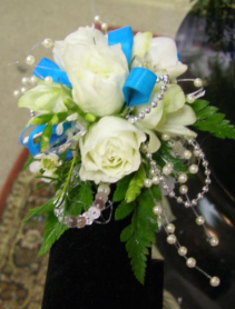 Roses and Pearls Wrist Corsage