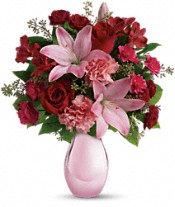 Roses and Pearls Vase Arrangement