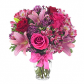 Roses and Pink lilies Bouquet All Around Arranegement
