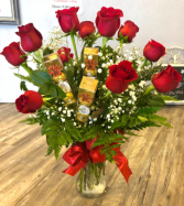 Roses and Box Rochers  Vase