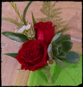 Roses and succulent boutonniere Boutonniere
