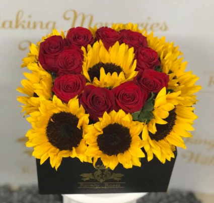 Roses And Sunflowers 30x30 Box Box Of Roses And Sunflowers In Harlingen Tx Royalty Roses