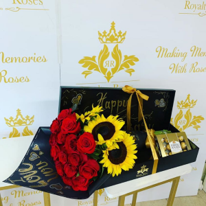 Roses and Sunflowers Long Box Deluxe Roses and  Sunflowers Long Box in Harlingen, TX   Royalty Roses
