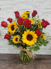 Roses And Sunflowers Vase