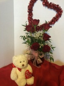 Roses and Teddy Bear Vase and plush