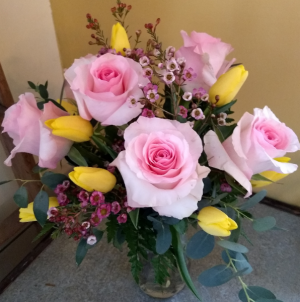 Roses and Tulips vase arrangement in Pawling, NY | PARRINO'S FLORIST