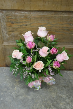 Roses and Tulips Vased Arrangement
