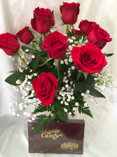 Roses Arranged Plus 1 Lb. Box Candy