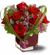 Roses arrangement in a cube with heart  **HOT PICK ITEM**