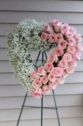 Roses & Baby Breath Heart **Available in multiple different colors