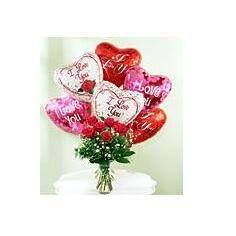 6 ROSES & 6 BALLOONS DELUXE Vase Arrangement