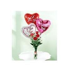 4 ROSES &    3 BALLOONS Vase Arrangement