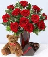 Roses , Teddy Bear & Chocolates