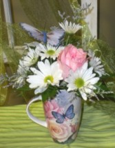 Roses & Butterflies Mug Flower Arrangement