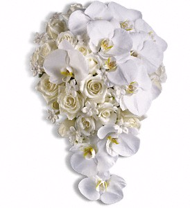 Roses, Orchids & Stephanotis Cascade Wedding Bouquet in Whitesboro, NY | KOWALSKI FLOWERS INC.